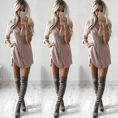 Sexy Long Sleeve Shirt Casual Blouse Loose Chiffon Tops 2019New Arrive V Neck Blusas Femininas casual style dress