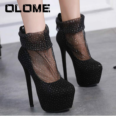 2019 Spring New Sexy Stars Women's High-heeled Shoes With Waterproof Platform Nightclub Women's Shoes Mesh Yarn Boots Women