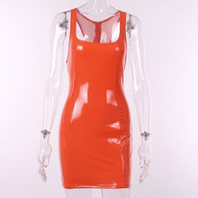 Load image into Gallery viewer, Bangniweigou Shiny Racer Back Sleeveless Pvc Faux Leather Mini Dress Pink Orange Women Celeb Nightclub Party Bandage Short Dress