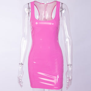 Bangniweigou Shiny Racer Back Sleeveless Pvc Faux Leather Mini Dress Pink Orange Women Celeb Nightclub Party Bandage Short Dress