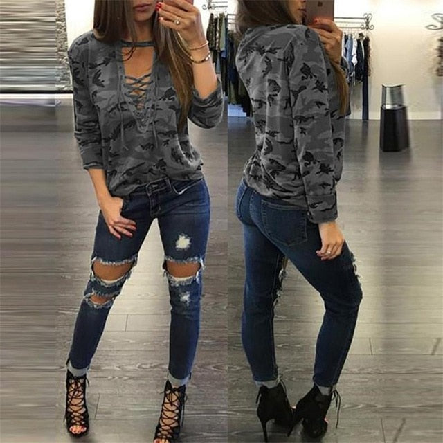Women Fashion Clothes Camouflage T-shirts Summer Sexy Bandage V Neck Hollow Out T-Shirt Lady office Tops Wear Tee Shirt Female