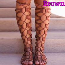Load image into Gallery viewer, Roman Gladiator Bandage Sandals Women Knee High flat sandalias botas femininas Women Shoes Girls Summer hollow Ankle Boot