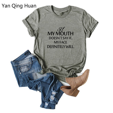 Yan Qing Huan 2019 New Explosion Street Fashion Letter Tees Round Neck Print Slim Large Size S-5xl Short-sleeved Women's T-shirt
