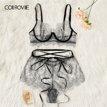Load image into Gallery viewer, COLROVIE Grey Eyelash Lace Sheer Lingerie Set Women Intimates 2019 Underwire Transparent Sexy Bra And Briefs Underwear Set