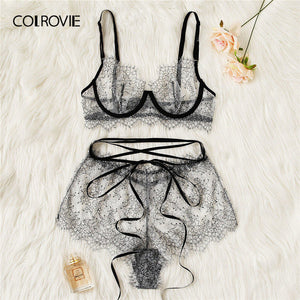 COLROVIE Grey Eyelash Lace Sheer Lingerie Set Women Intimates 2019 Underwire Transparent Sexy Bra And Briefs Underwear Set