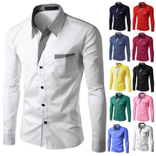 Load image into Gallery viewer, TUNEVUSE Mens shirts Camisa Masculina Long Sleeve Shirt Men Korean Slim Design Formal Casual Male Dress Shirt Size M-4XL 8012