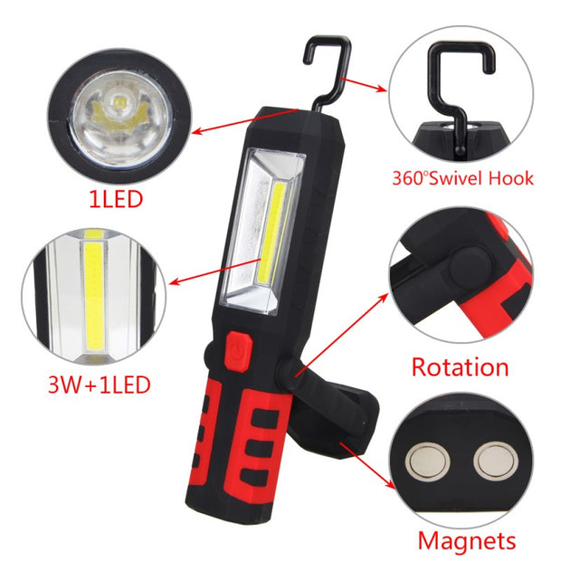 COB LED Strong Magnetic Work Light Car Garage Mechanic Home Camping Torch Lamp