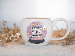 "Crystal Ball ""Change is Brewing"" Mug with mother of pearl"