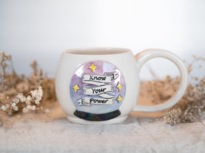 "Crystal Ball ""Know Your Power"" Mug with mother of pearl 1"