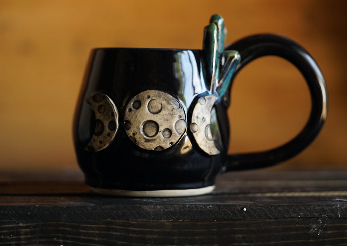 Moon Goddess Mug with crystals  in Black