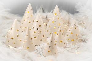 Hand thrown Christmas Tree in White large