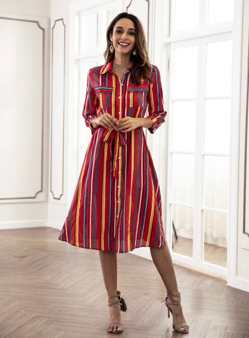 Red Striped Multi Dress