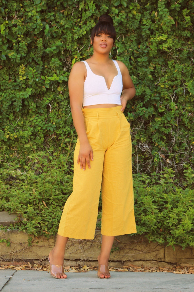 V Neck Side Zipper Top + Mustard Pants