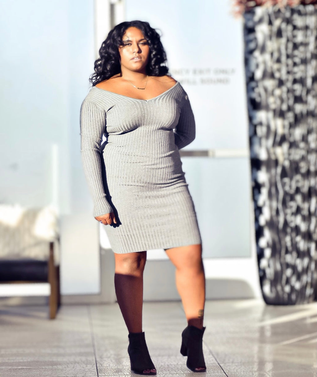 Heather Grey V-Neck Long Sleeve Ribbed Sweater Bodycon Mini Dress