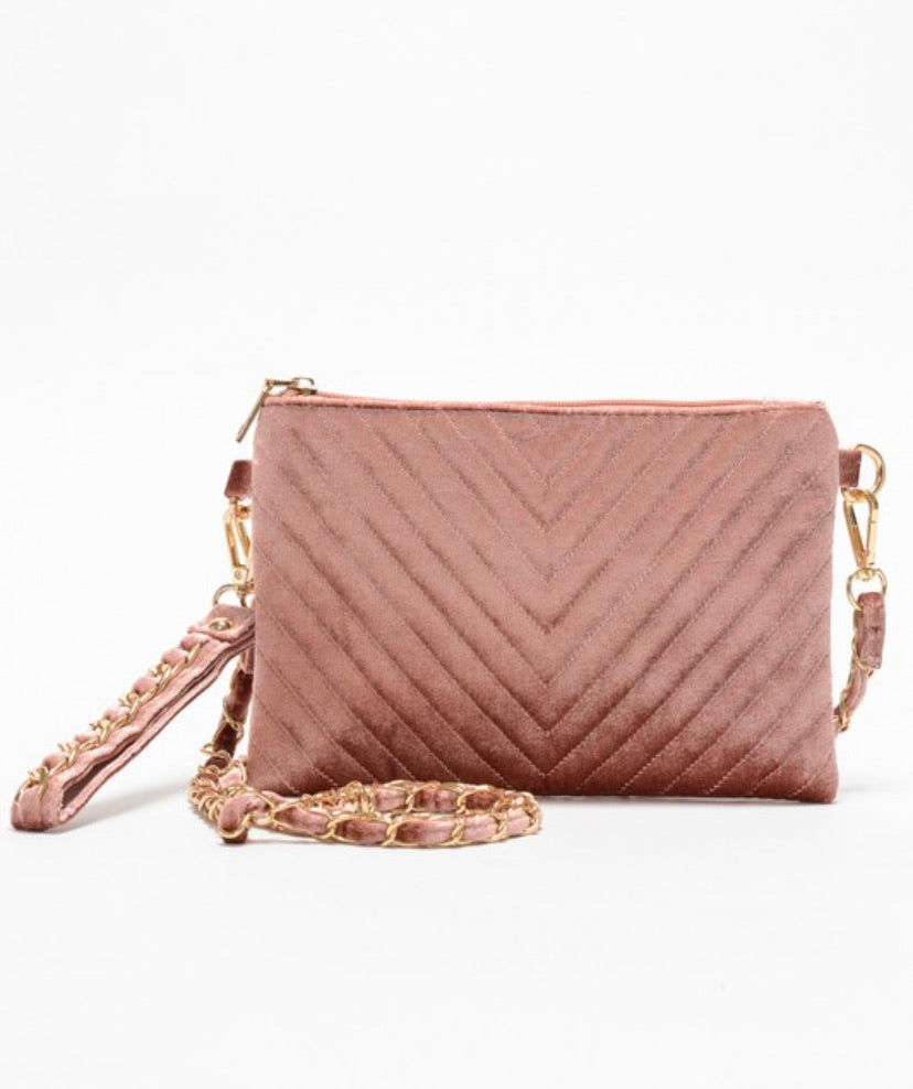 ROSE GOLD VELVET PURSE