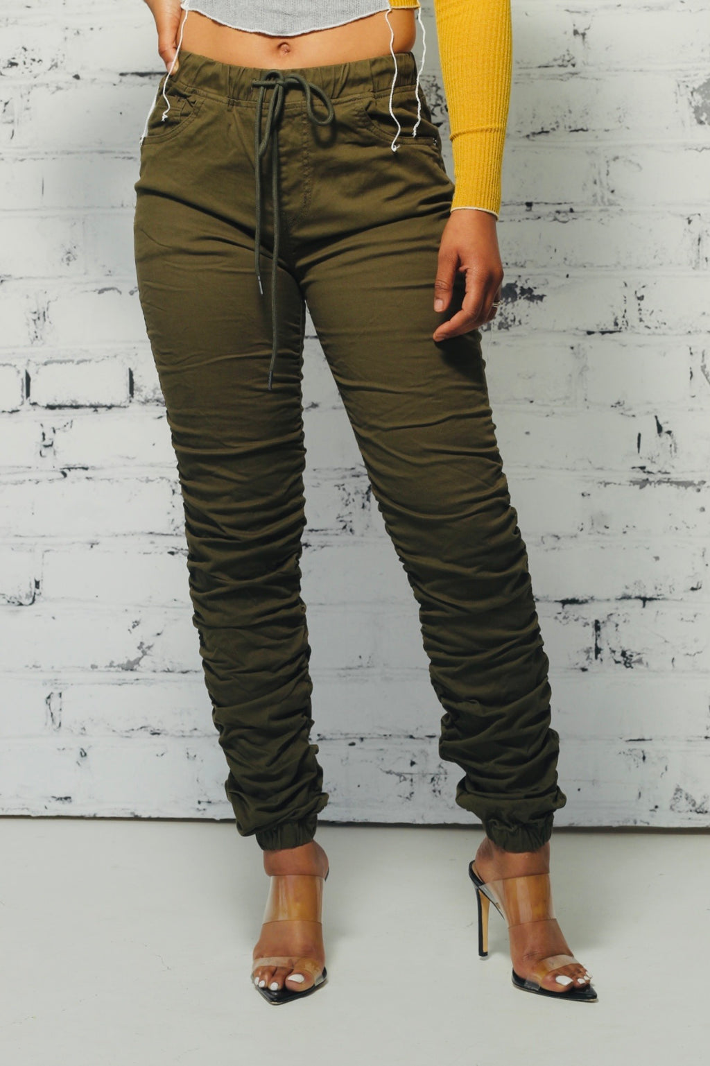 Olive High Waist Stacked Joggers