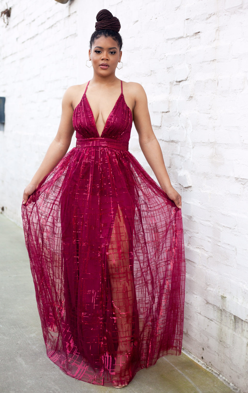 LUXE MAROON MAXI DRESS