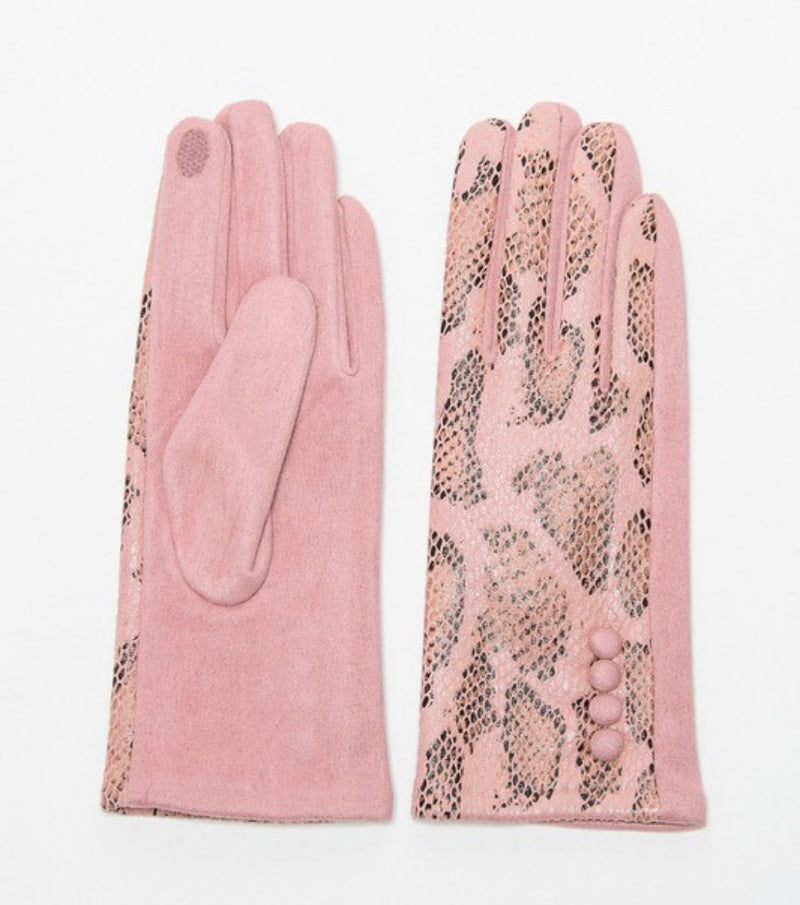 ROSE GOLD LUXE SNAKESKIN GLOVES