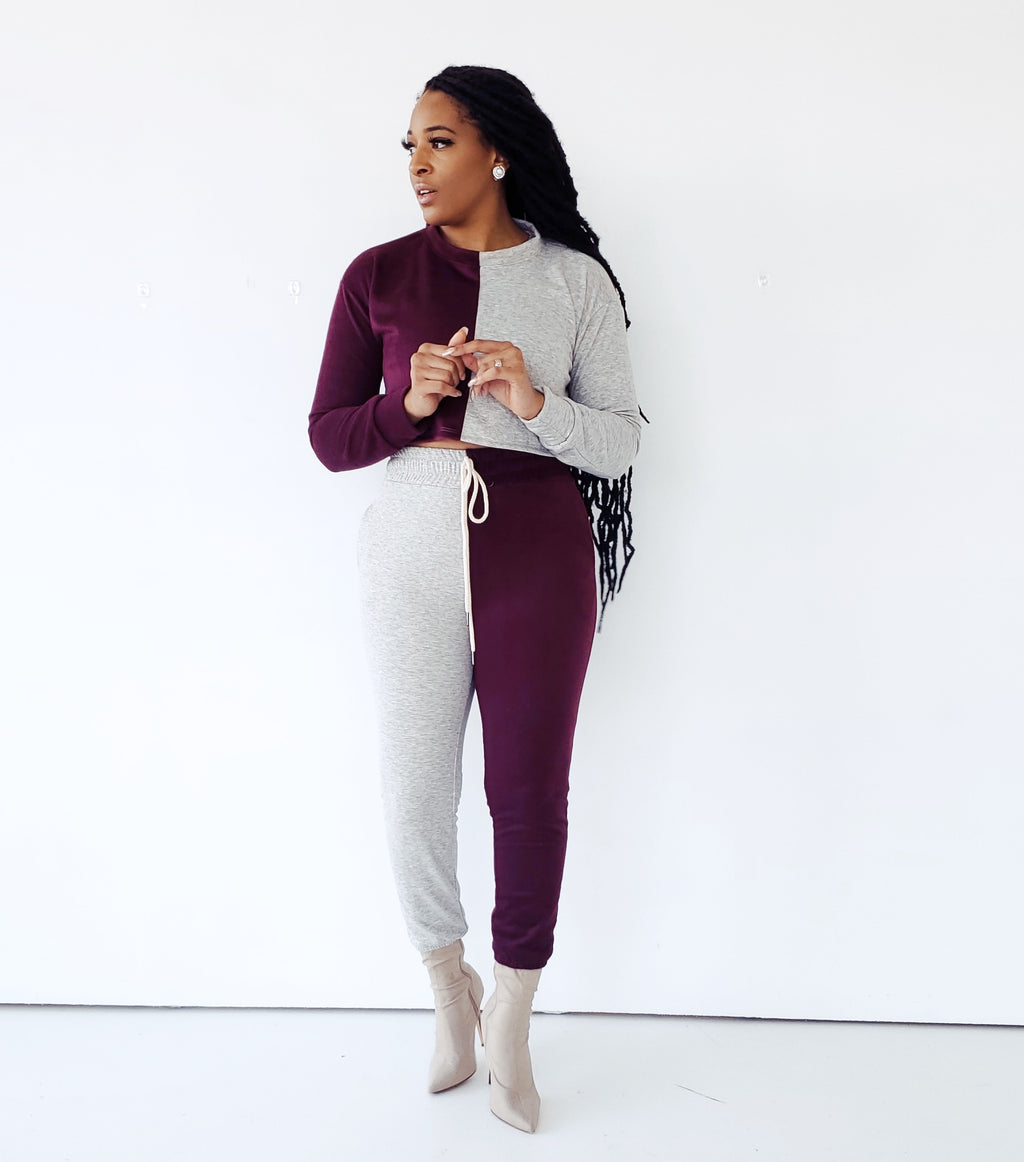 COLOR-BLOCK BURGUNDY AND GREY LUXE JOGGER SET