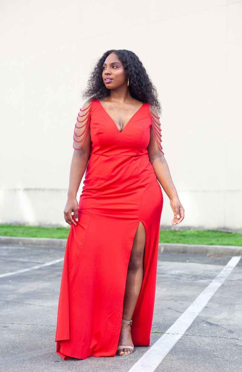 Red Beaded Strap Dress