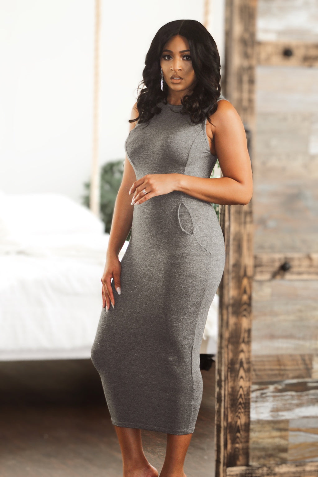 NAUGHTY OR NICE LUXE LOUNGEWEAR MIDI DRESS