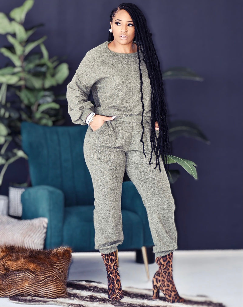 Hunter Olive High Waist Boucle Luxe Lounge Set