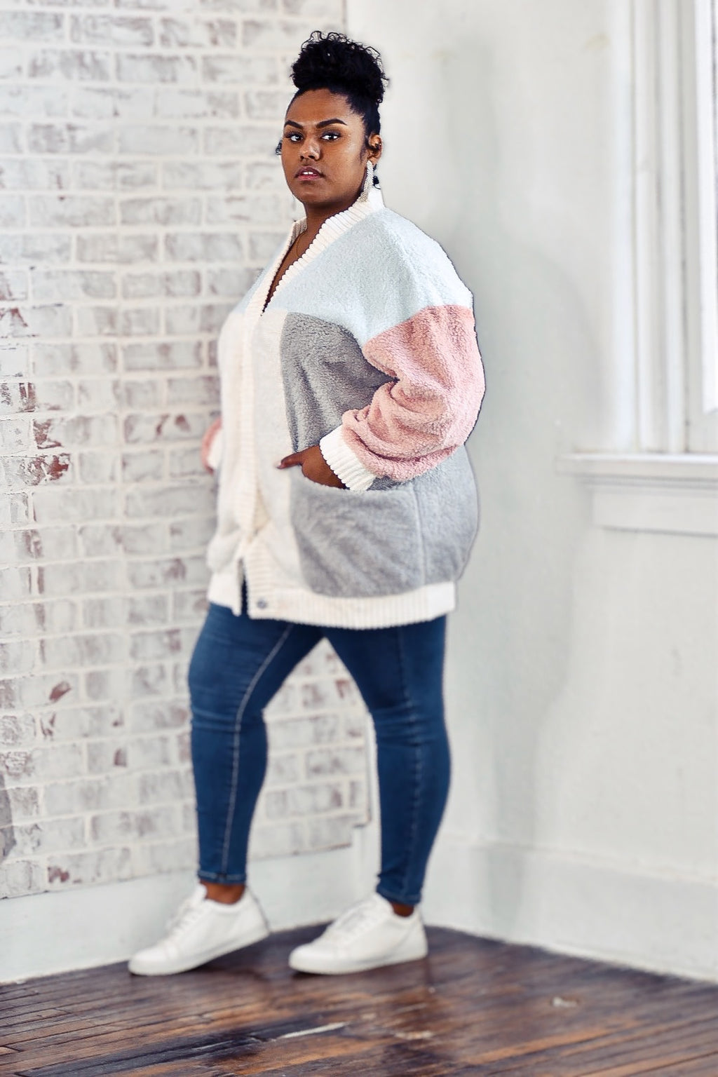 COLOR-BLOCK OPEN CARDIGAN
