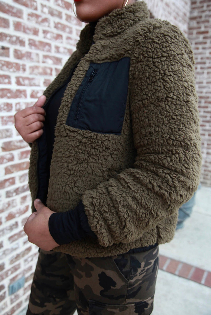 Reversible Olive Sherpa Jacket