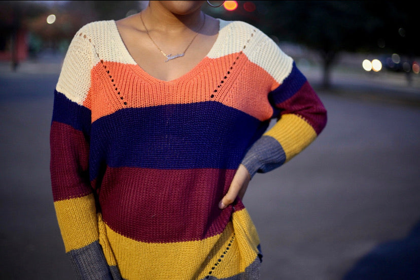 Colorblock  Off The Shoulder Sweater