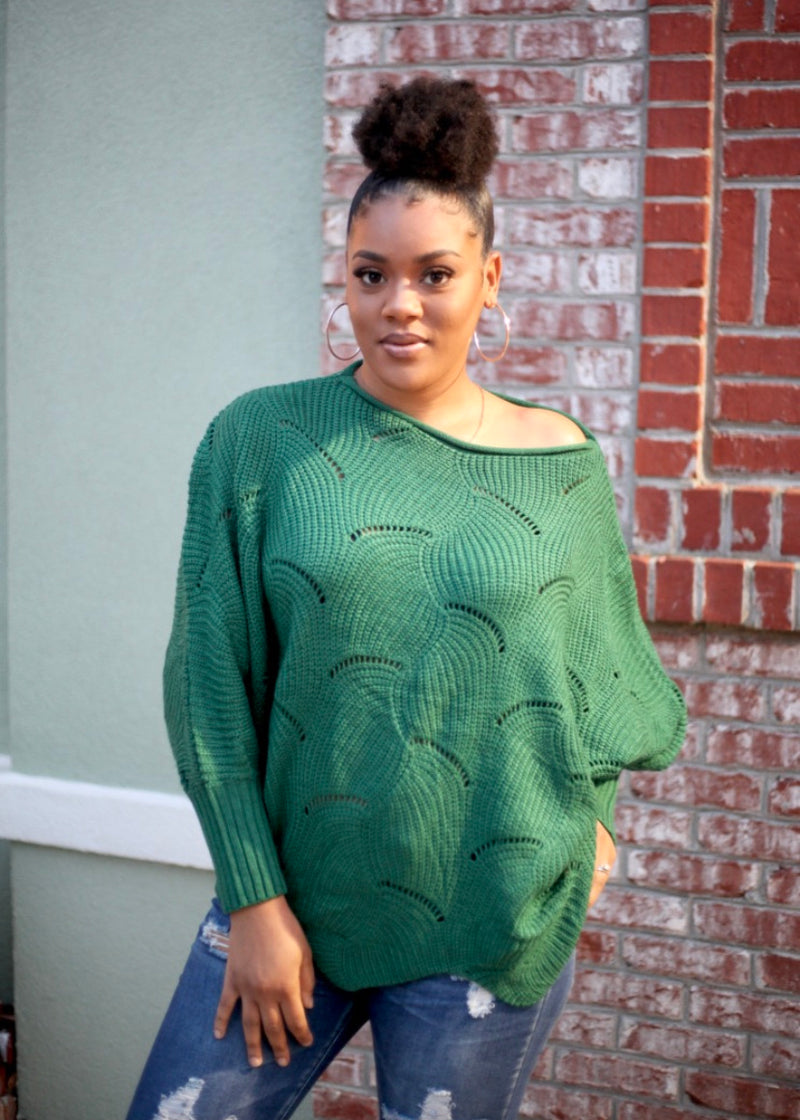 Green Off The Shoulder Sweater