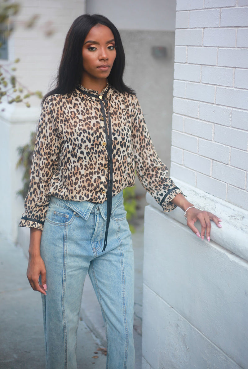 Animal Print Collar Button Down