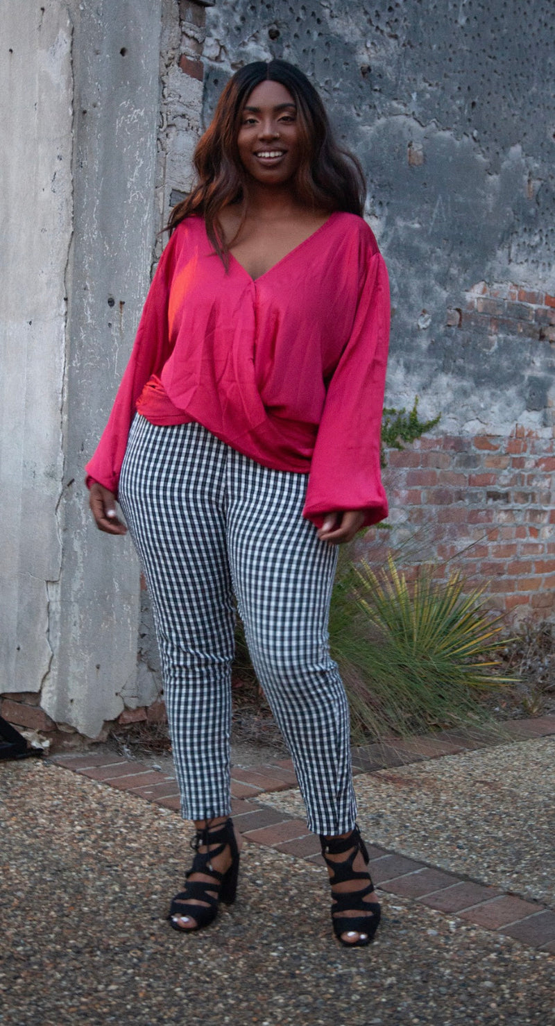Curvy Hi Waist Plaid Pants