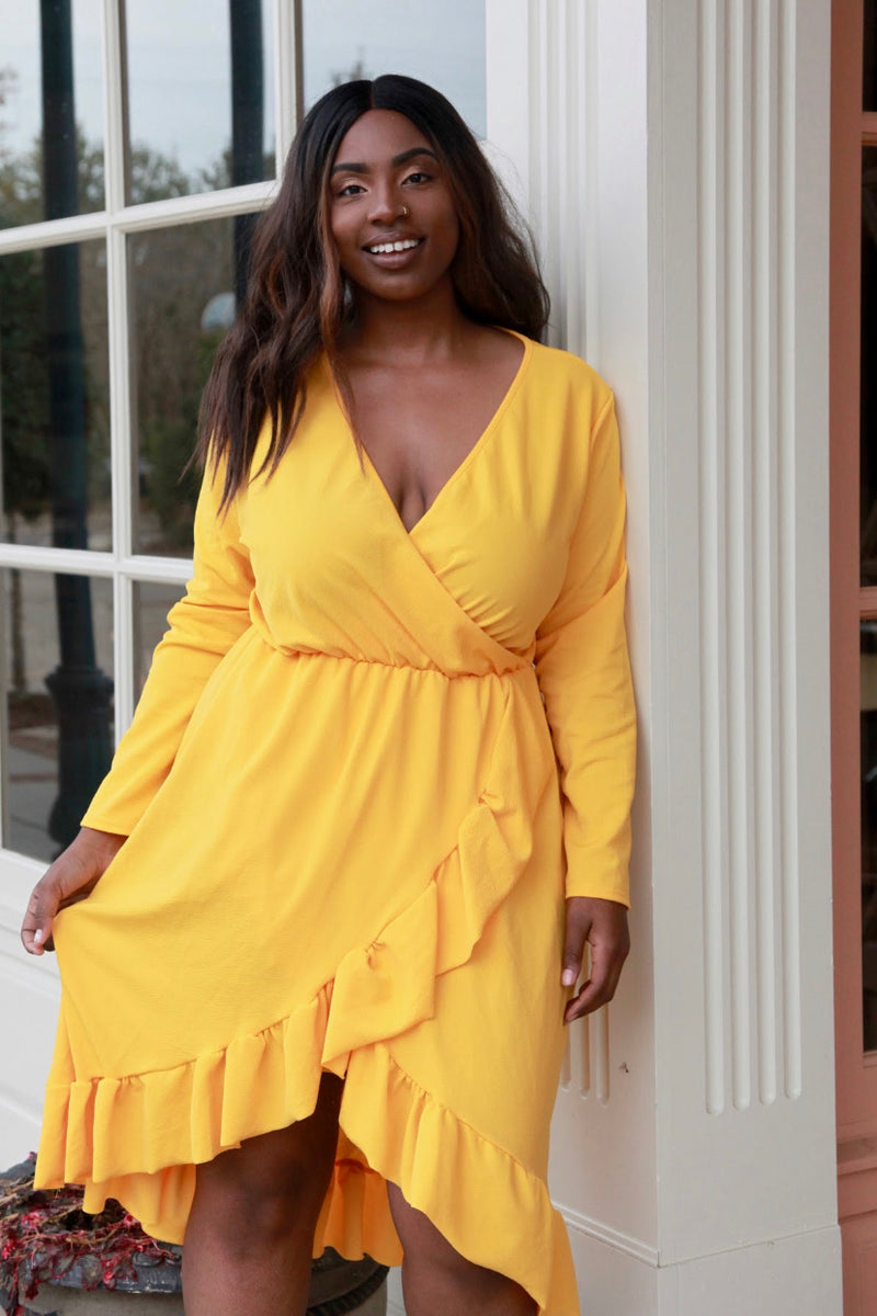 Mustard Long Sleeve Winter Dress