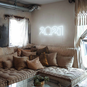 "2021 The Neon Studio Large: W 85cm * H 27cm / 33"" 11"" Cool White Clear Acrylic - Shape of Design"