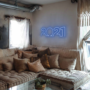"2021 The Neon Studio Large: W 85cm * H 27cm / 33"" 11"" Dark Blue Clear Acrylic - Shape of Design"