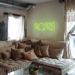 "2021 The Neon Studio Large: W 85cm * H 27cm / 33"" 11"" Green Clear Acrylic - Shape of Design"