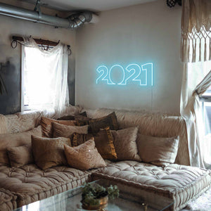 "2021 The Neon Studio Large: W 85cm * H 27cm / 33"" 11"" Ice Blue Clear Acrylic - Shape of Design"