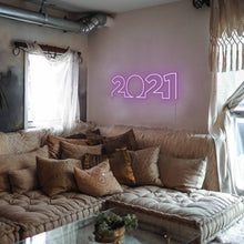 "Load image into Gallery viewer, 2021 The Neon Studio Large: W 85cm * H 27cm / 33"" 11"" Purple Clear Acrylic - Shape of Design"