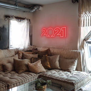 "2021 The Neon Studio Large: W 85cm * H 27cm / 33"" 11"" Red Clear Acrylic - Shape of Design"
