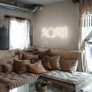 "2021 The Neon Studio Large: W 85cm * H 27cm / 33"" 11"" Warm White Clear Acrylic - Shape of Design"