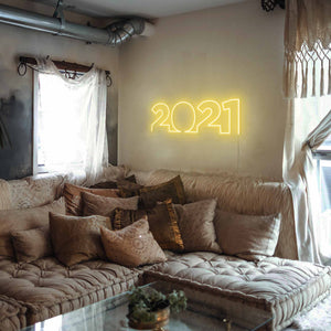 "2021 The Neon Studio Large: W 85cm * H 27cm / 33"" 11"" Yellow Clear Acrylic - Shape of Design"