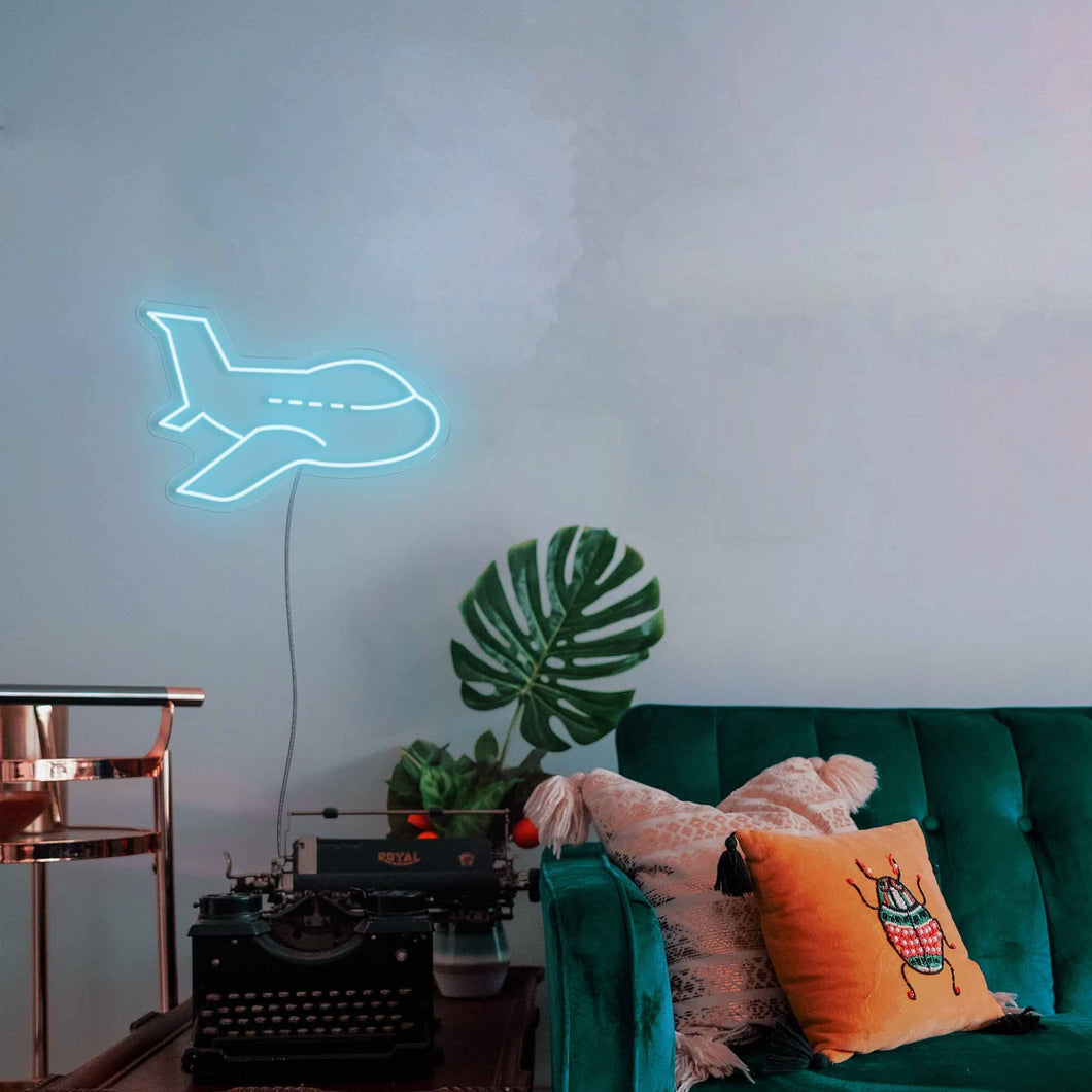 "Airplane The Neon Studio Large: W 85cm * H 55cm / 33"" 17"" Ice Blue Clear Acrylic - Shape of Design"