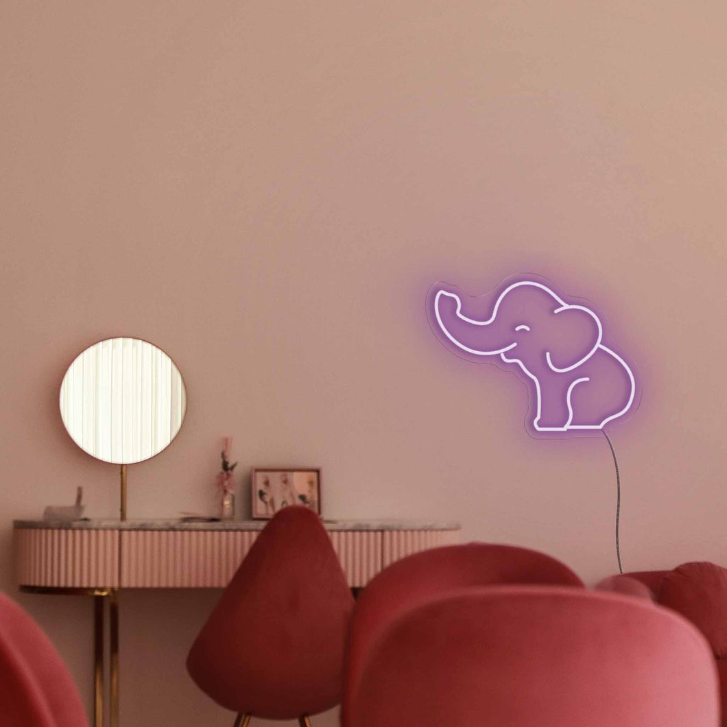 "Baby Elephant The Neon Studio Large: W 85cm * H 63cm / 33"" 25"" Purple Clear Acrylic - Shape of Design"
