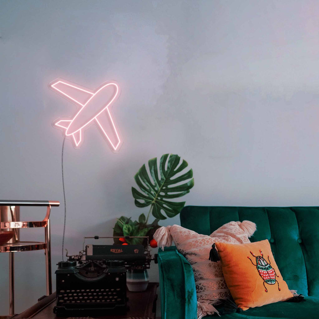 "Business Plane The Neon Studio Large: W 85cm * H 85cm / 33"" 33"" Peach Pink Clear Acrylic - Shape of Design"
