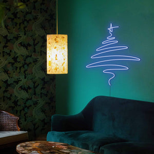 "Cedar Christmas Tree The Neon Studio Large: W 112cm * H 115cm / 44"" 45"" Dark Blue Clear Acrylic - Shape of Design"
