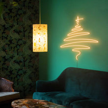 "Load image into Gallery viewer, Cedar Christmas Tree The Neon Studio Large: W 112cm * H 115cm / 44"" 45"" Gold Yellow Clear Acrylic - Shape of Design"