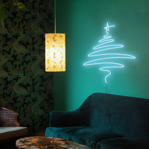 "Cedar Christmas Tree The Neon Studio Large: W 112cm * H 115cm / 44"" 45"" Ice Blue Clear Acrylic - Shape of Design"