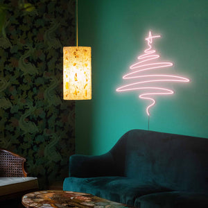 "Cedar Christmas Tree The Neon Studio Large: W 112cm * H 115cm / 44"" 45"" Peach Pink Clear Acrylic - Shape of Design"