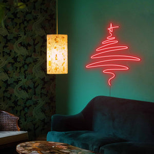 "Cedar Christmas Tree The Neon Studio Large: W 112cm * H 115cm / 44"" 45"" Red Clear Acrylic - Shape of Design"