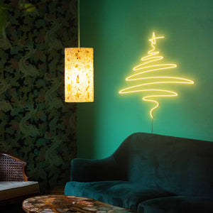 "Cedar Christmas Tree The Neon Studio Large: W 112cm * H 115cm / 44"" 45"" Yellow Clear Acrylic - Shape of Design"